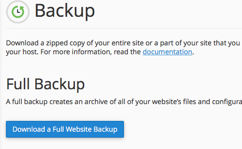 "Now click on "" Download a Full Website Backup""."